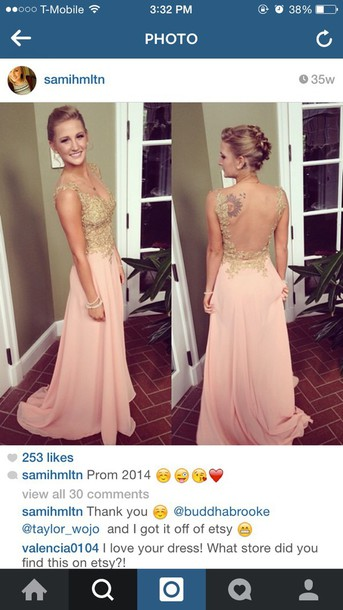 dress prom dress pink dress backless dress