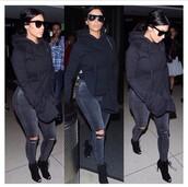 sweater,kim,kardashians,kim kardashian,hoodie,shoes,jeans,where to get this whole outfit,black sunglasses,coat,sunglasses