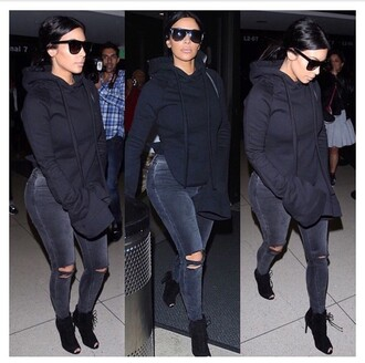 sweater kim kardashians kim kardashian hoodie shoes jeans where to get this whole outfit black sunglasses coat sunglasses