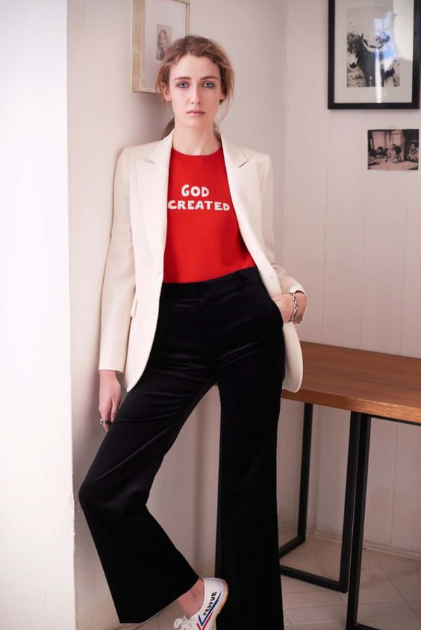 sweater red sweater bella freud blazer white blazer pants black pants flare pants fall outfits
