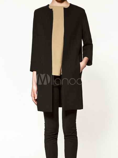 Unique Black Cotton Blend 3/4 Length Sleeve Collarless Women's Coat - Milanoo.com