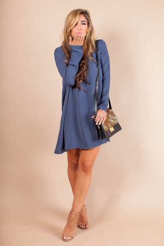 the darling detail - austin fashion blog blogger dress cardigan bag jewels shoes sunglasses hat long sleeves blue dress shoulder bag animal print mini dress nude nude boots