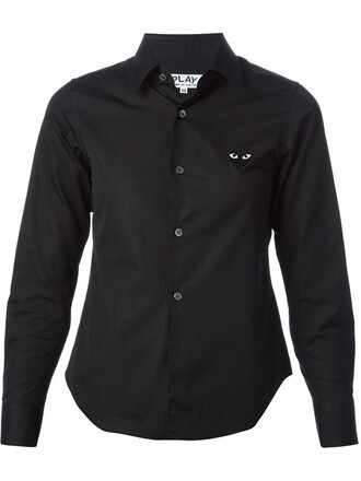 shirt heart embroidered black top