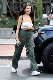 top,cargo pants,madison beer,streetstyle,celebrity,crop tops,sneakers
