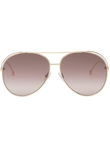 Fendi Eyewear metal women run sunglasses purple pink