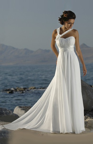 Chiffon Wedding Dress with Asymmetric Straps - Beach Wedding Dresses ...