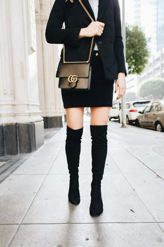 shoes tumblr black boots over the knee boots thigh high boots skirt mini skirt black skirt black blazer blazer bag black bag gucci gucci bag chain bag