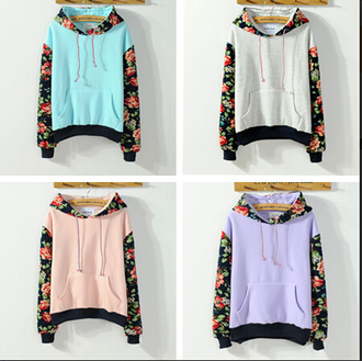 sweater blue peach pink white purple hoodie floral warm fall outfits fashion style kawaii trendy winter outfits lilac