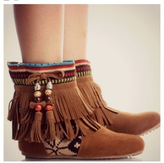 shoes boots indian fringes tribal pattern cute
