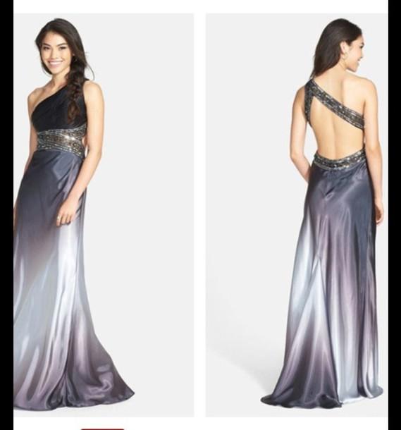 dress ombre dress one shoulder prom dress long dress silver black dress