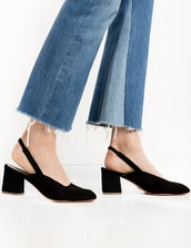 shoes,sling back suede heels,blackheels,suede heels,slingback heels,black heels,cute high heels,party shoes,slingbacks