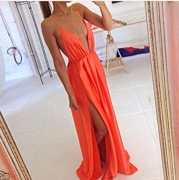 dress wrap summer maxi maxi dress neon orange coral cami plunge plunge v neck silk slice open back low plunge deep v neck dress v-neck peach dresses peach sexy dress long dress spagetti straps