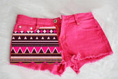 shorts,short,aztec,pink,neon,colorful,cute,fashion,aztec short,bottom,bottoms,zick zack,cool,pink shorts,girly,denim,tribal pattern,tribal short,tribal shorts,brown,clothes,girl,summer,cut off shorts,hot pink,aztexprint,shorts aztec pink,pink aztec,black and white pattern,pink by victorias secret,print,pink demin,pattern,printed shorts,hot pink shorts with tribal,bright