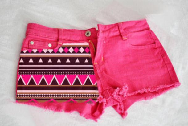 Aztec Shorts - Gcdekb Shorts Short Aztec Pink Neon Color Colour Cute Fashion Aztec Short Bottom Bottoms