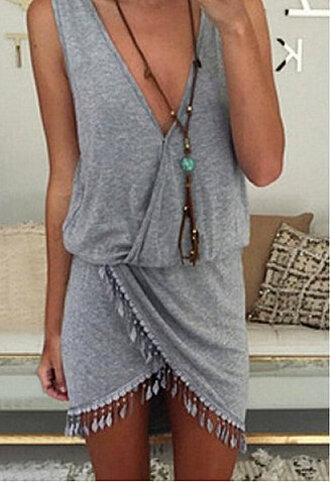 dress boho dress festival dress grey dress fringed dress summer dress sundress