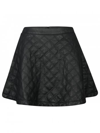 Faux Leather Quilted Skater Skirt