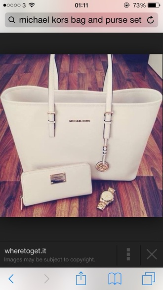 bag white bag michael kors purse watch