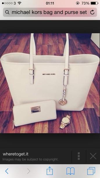 bag white bag michael kors purse watch