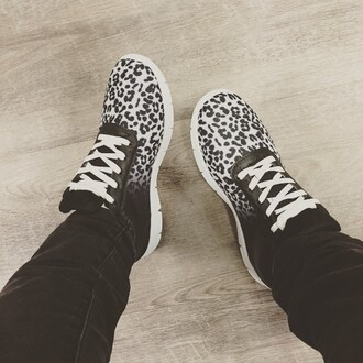 shoes leopard print sneakers black and white