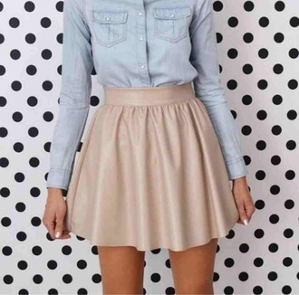 skirt fashion pink skirt short skirt white skater skirt ivory