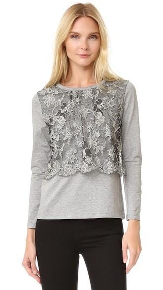 top long lace grey