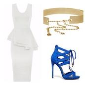 dress,white dress,wedding dress,short wedding dress,white peplum dress,sexy party dresses,belt,shoes