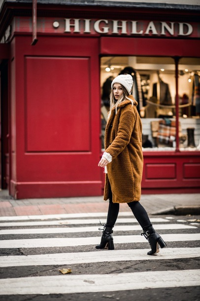 hat tumblr beanie knitted beanie coat mustard teddy bear coat fuzzy coat winter outfits winter coat boots black boots