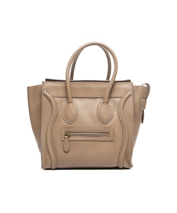 c85cd75ff4 Celine Pre-Owned Celine Beige Calfskin Micro Luggage Tote Bag ...