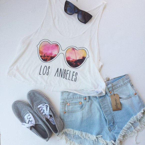 tank top shorts denim cutoff shorts crop tops sunglasses light blue light wash light washed denim light wash high waisted jeans shorts light wash shorts crop tank top crop tanks cropped sunset los angeles los angeles top heart sunglasses light wash denim shorts