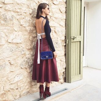 top tumblr black top open back backless backless top midi skirt burgundy skirt burgundy boots high heels boots