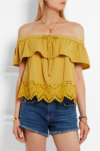 top off the shoulder lace yellow top bardot top
