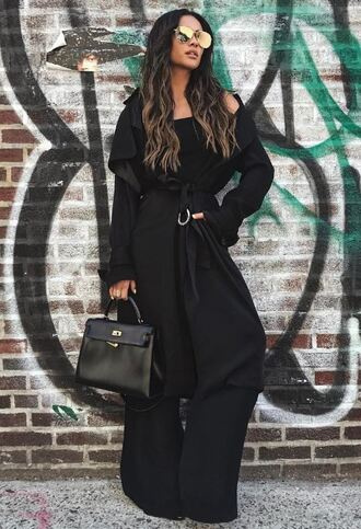 jumpsuit all black everything coat trench coat shay mitchell wide-leg pants