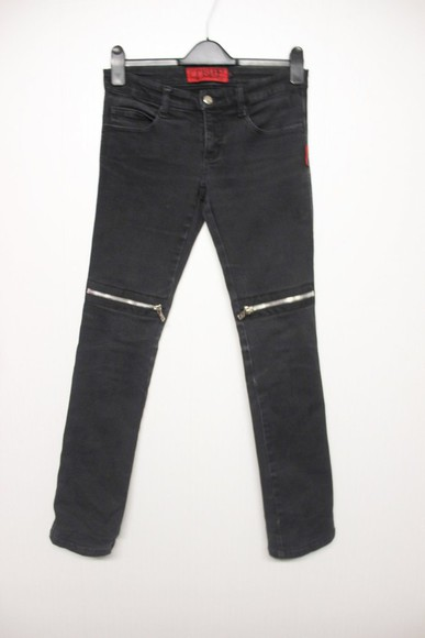 jeans unif grunge zip zipper knee goth kill city rock pastel goth
