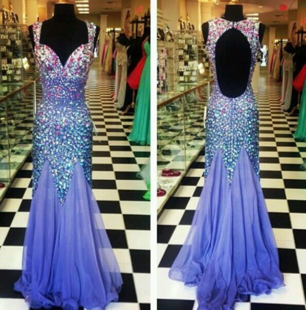 Purple Dress Sparkly Dress Open Back Prom Dress Prom Dress Dress