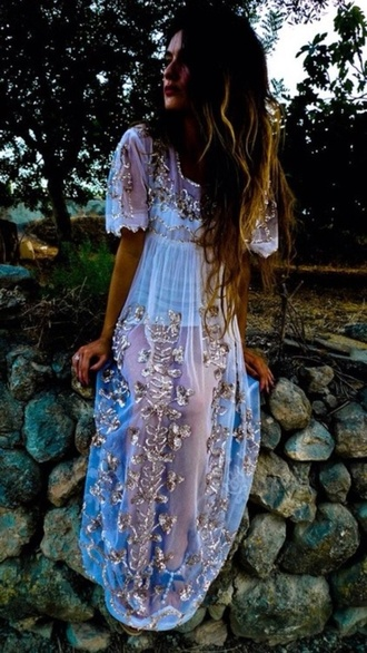 lace dress sheer boho sequins tumblr boho chic indie prom dress hippie soft grunge hipster gold gypsy
