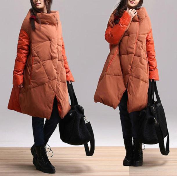 coat overcoat jacket orange
