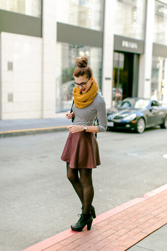 shoes boots burgundy burgendy yellow skirt tights scarf glasses shirt stripes hipster cute fall outfits top