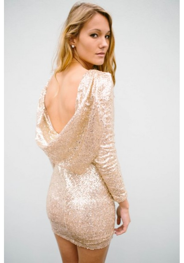 All gold sequin dress with drape back