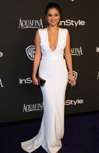 Aliexpress.com : Buy Sexy Backless White Mermaid Long Evening Dresses 2016 Selena Gomez Red Carpet V Neck Celebrity Dresses Robe De Soiree from Reliable dresses for broad shoulders suppliers on Suzhou Babyonline dress Co.,LTD