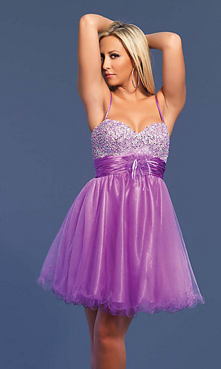 Short Beaded Dave & Johnny Baby Doll Prom Dress - Simply Dresses