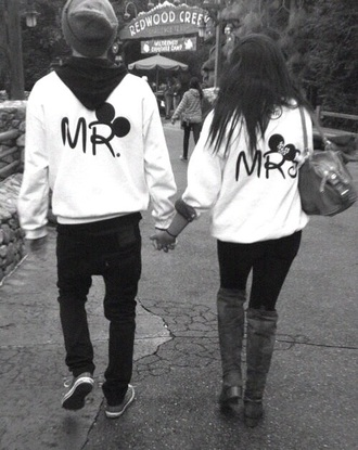 sweater couple sweaters white sweater mickey mouse sweater