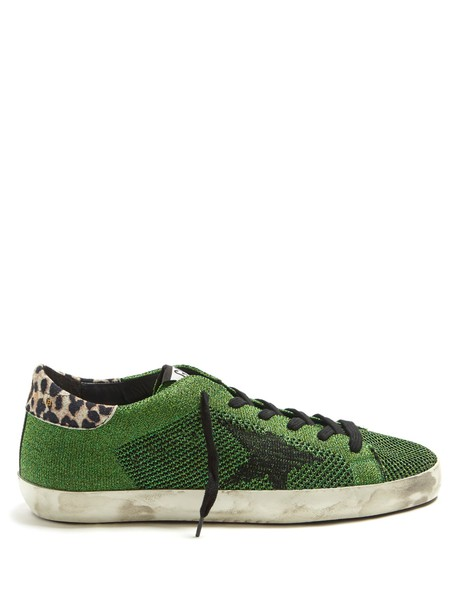 GOLDEN GOOSE DELUXE BRAND top metallic knit green