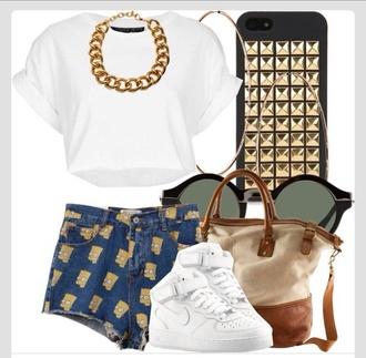 shoes necklace cartoon shorts girly outfits tumblr tumblr shirt sunglasses t-shirt bag