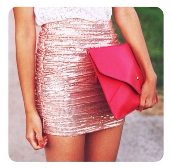 shiny white metallic skirt pink sparkly