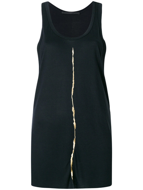 Haider Ackermann - oversized foil gold strip tank top - women - Rayon - 42, Black, Rayon