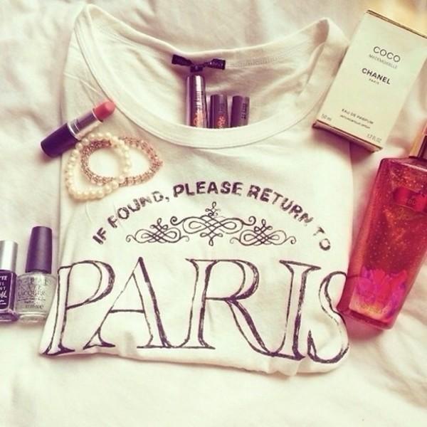 shirt paris white t-shirt paris shirt t-shirt white t-shirt jewels chanel make-up fashion style t short t shitt floral t shirt chanel t-shirt