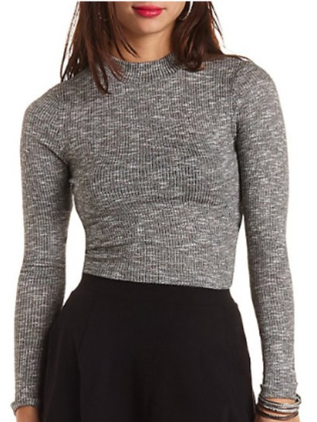 sweater ribbed cropped turtleneck turtleneck