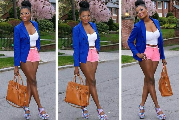 simple white tank top summer jacket shoes white crop top blue blazer pink shorts tan purse classy blue pink trendy girly pretty cool shorts blazer crop tops summer outfits