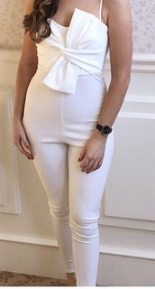 jumpsuit,tie front,bow,white,pink