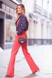 mi aventura con la moda,blogger,pants,blouse,jewels,bag,fall outfits,shoulder bag,suspenders,red pants,jumpsuit,shoes